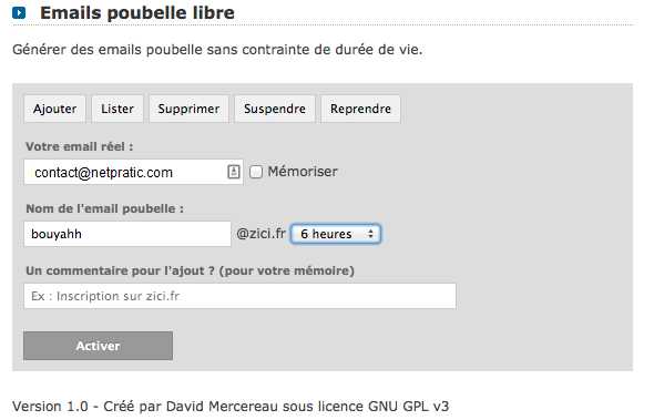 emailpoubelle interface